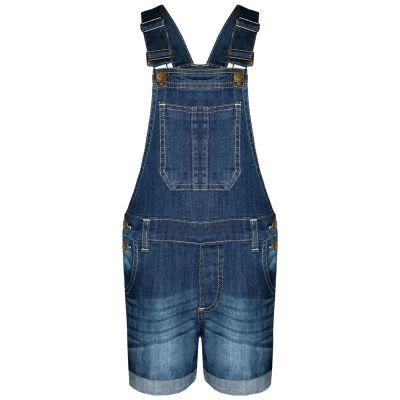 A2Z Trendz Kids Girls Dungaree Shorts Designer's Dark Blue Denim Stretch Jeans Jumpsuit Playsuit All In One Age 5 6 7 8 9 10 11 12 13 Years