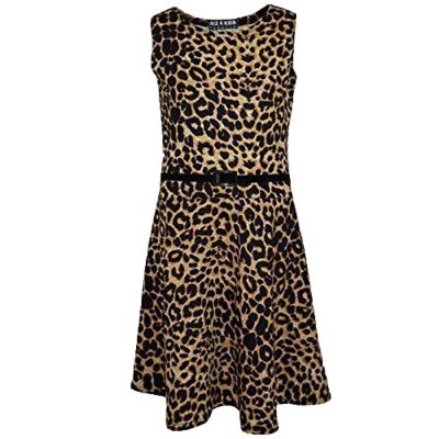 Kids Girls Skater Dress Leopard Print Summer Party Dance Sun Dresses Age 7 8 9 10 11 12 13 Years