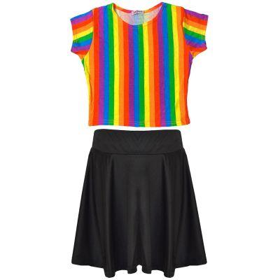 A2Z Trendz Kids Girls Designer's Rainbow Print Trendy Crop Top T Shirt & Fashion Skater Skirt Ballet Dance Tutu Summer Outfit Set Age 7 8 9 10 11 12 13 Years