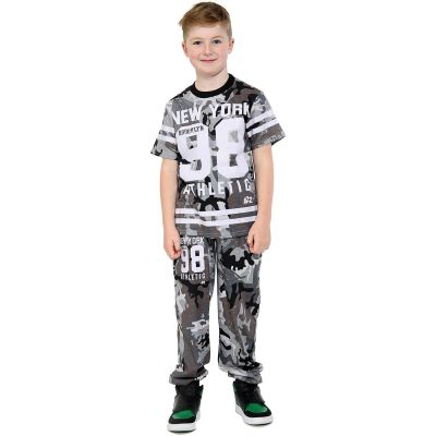 A2Z Trendz Boys Top Kids Designer's New York Brooklyn 98 Athletic Camouflage Print T Shirt Tops & Trouser Set Age 7 8 9 10 11 12 13 Years