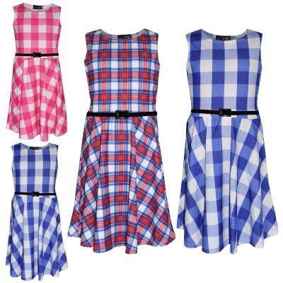 A2Z Trendz Girls Skater Dress Kids Check Print Summer Party Fashion Dresses New Age 7 8 9 10 11 12 13 Years