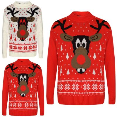 A2Z Trendz Kids Christmas Jumper Girls Boys Novelty Reindeer Print Xmas Sweaters New Age 5 6 7 8 9 10 11 12 Years