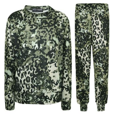A2Z Trendz Kids Tracksuit Girls Leopard Print Lounge Suit Bottom Joggers Leggings New Age 2 3 4 5 6 7 8 9 10 11 12 13 Years