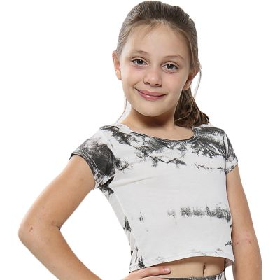 A2Z Trendz Kids Girls Crop Tops Tie Dye Print Grey Stylish Fahsion Trendy T Shirt Tank Top & Tees New Age 5 6 7 8 9 10 11 12 13 Years
