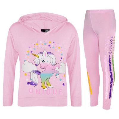 Kids Girls Tracksuits Baby Pink Hooded Dabbing Unicorn Floss Unique Outfit Sets