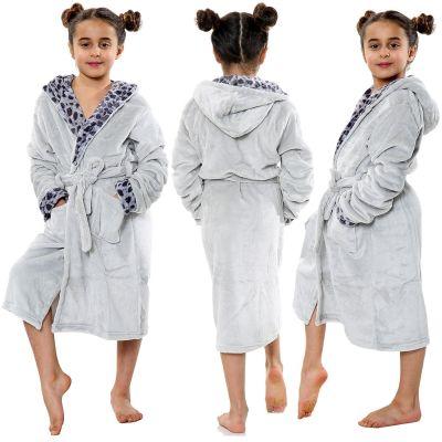 Kids Girls Bathrobes Leopard Print Grey Flannel Fleece Hooded Soft Dressing Gown Nightwear Loungewears.