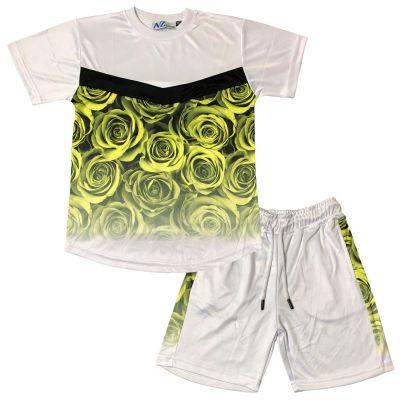 A2Z 4 Kids Kids Boys Girls T Shirt Short Set Designer's Flower Two Tone Fade Gradient Print Yellow T-Shirt Top Tees & Shorts Set Age 5 6 7 8 9 10 11 12 13 Years