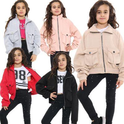 Kids Girls Plain Zip Up Cropped Jackets Fleece Stylish Utility Pockets Jackets Fashion Thick Coats.