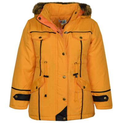 Kids Girls Jacket DESIGNER'S Girls Mustard Parka Coat Faux Fur Hooded Top New Age 3-13 Years