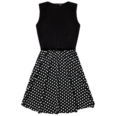 A2Z Trendz Kids Girls Skater Dress Designer's Spotty Contrast Panel Summer Party Fashion Dance Dresses With A Free Belt Age 7 8 9 10 11 12 13 Years