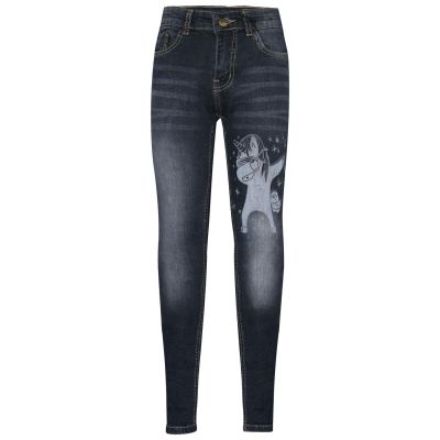 A2Z Trendz Kids Girls Jeans Designer's Unicorn Dab Black Denim Stretchy Pants Fashion Slim Fit Trousers New Age 5 6 7 8 9 10 11 12 13 14 Years