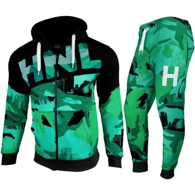A2Z Trendz Kids Boys Girls Tracksuit HNL Camouflage Green Hoodie & Bottom Pullover Fashion Sports Wear Jogging Suit Joggers New Age 7 8 9 10 11 12 13 Years