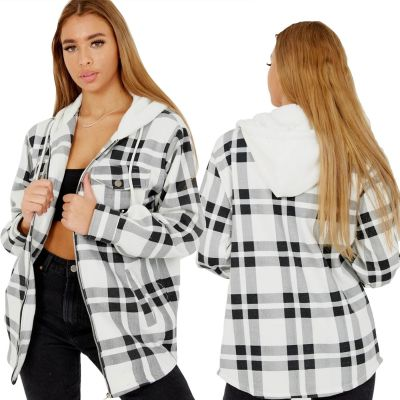 Girls Check Print Hooded Jackets