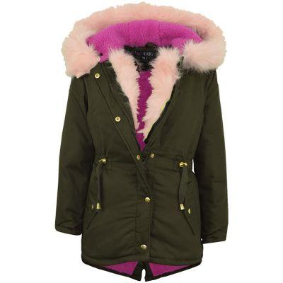 A2Z Trendz Kids Hooded Jacket Girls Pink Fur Parka School Jackets Outwear Coat New Age 7 8 9 10 11 12 13 Years