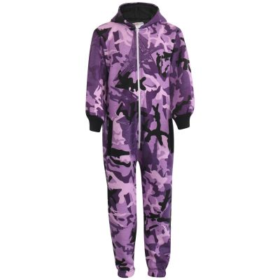 Kids Boys Girls Fleece Onesie Camouflage Purple Print All In One Jumpsuit Playsuit.