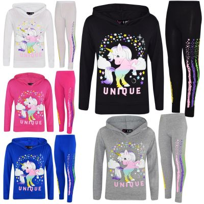 A2Z Trendz Kids Girls Tracksuit Designer's Dabbing Unicorn Rainbow Floss Hooded Top & Legging Lounge Wear Set New Age 7 8 9 10 11 12 13 Years