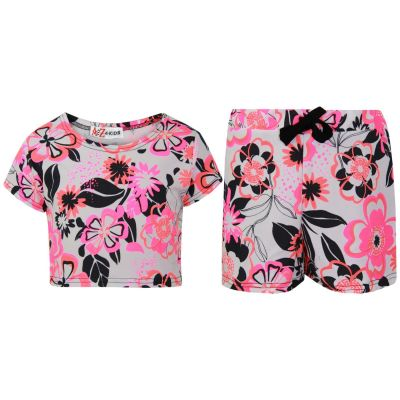 A2Z Trendz Kids Girls Crop Top & Shorts Neon Pink Floral Print Trendy Fashion Summer Outfit Short Sets New Age 7 8 9 10 11 12 13 Years