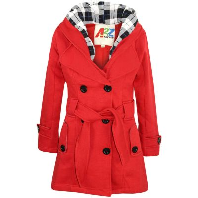A2Z Trendz Kids Girls Parka Jacket Hooded Trench Coat Fashion Wool Blends Warm Padded Red Jacket Oversized Lapels Belted Cuffs Long Overcoat New Age 5 6 7 8 9 10 11 12 13 Years