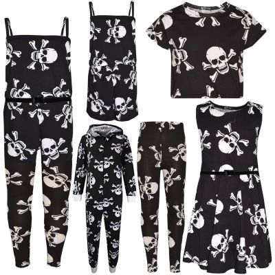 A2Z Trendz Kids Girls Boys Designer's Skull Print Crop Top Legging Skater Dress All In One Onesie Halloween Costume Age 7 8 9 10 11 12 13 Years