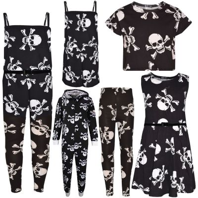 Kids Girls Skull & Bones Print Halloween Dresses Crop Top & Playsuit