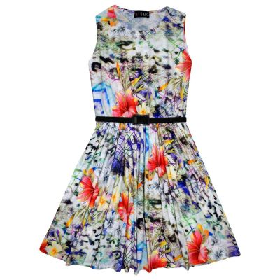 Girls Skater Dress Kids Multi Floral Print Summer Party Dresses New Age 7 8 9 10 11 12 13 Years