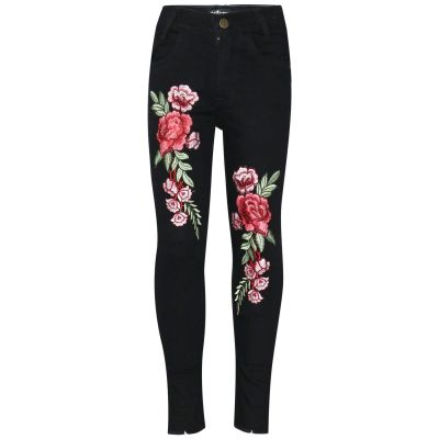 Kids Girls Stretchy Jeans Roses Embroidered Jet Black Denim Trousers Jeggings
