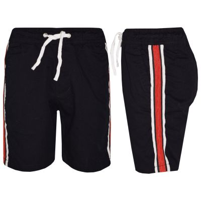 A2Z Trendz Kids Girls Boys Shorts Contrast Taped Cotton Black Chino Shorts Casual Knee Length Half Pant New Age 5 6 7 8 9 10 11 12 13 Years