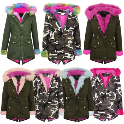 A2Z Trendz Kids Girls Designer's Camouflage Hooded Faux Fur Parka School Jackets Outwear Coats New Age 2 3 4 5 6 7 8 9 10 11 12 13 Years