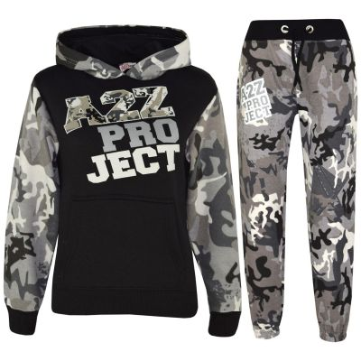 A2Z Trendz Boys Girls Tracksuit Kids Designer's A2Z Camouflage Print Charcoal Zipped Top Hoodie & Botom Jogging Suit Age 5 6 7 8 9 10 11 12 13 Years