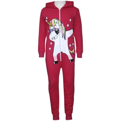 A2Z Trendz Kids Girls 100% Cotton Onesie Pink Dabbing Unicorn & Starts Print All In One Jumpsuit Playsuit Nightwear New Age 5 6 7 8 9 10 11 12 13 Years