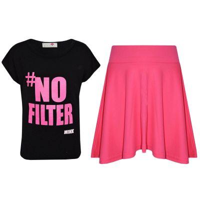 Kids Girls # No Fiilter Print Crop Top & Stylish Fashion Skater Skirt Set New Age 7 8 9 10 11 12 13 Years