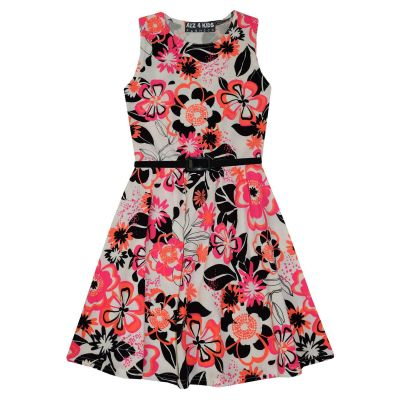 A2Z Trendz Girls Skater Dress Kids Neon Floral Print Summer Party Dresses New Age 7 8 9 10 11 12 13 Years