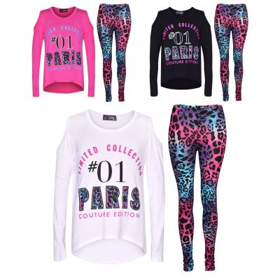 A2Z Trendz Girls Top Kids #01 Paris Print Trendy Top & Multi Leopard Legging Set Age 7-13 Years