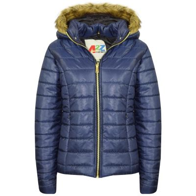 A2Z Trendz Kids Girls Jacket Navy Puffer Hooded Padded Quilted Faux Fur Detachable Hood Warm Thick Coats New Age 5 6 7 8 9 10 11 12 13 Years