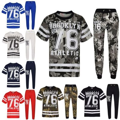 A2Z Trendz Boys Top Kids Designer's Brooklyn New York 76 Athletic Camouflage Print T Shirt Tops & Trouser Set Age 7-13 Years