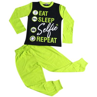 A2Z Trendz Kids Girls Pyjamas Designer's Eat Sleep Selfie Repeat Cotrast Sleeves Lime Stylish Loungewear Nightwear PJS New Age 2 3 4 5 6 7 8 9 10 11 12 13 Years