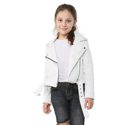A2Z Trendz Kids Jackets Girls Designer's PU Leather White Jacket Fashion Zip Up Biker Trendy Belted Coat Overcoats New Age 5 6 7 8 9 10 11 12 13 Years
