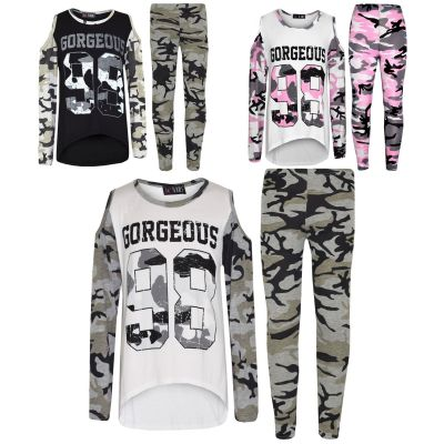 A2Z Trendz Girls Tops Kids Gorgeous 98 Camouflage Print Shoulder Cut Style T Shirt Top & Fashion Legging Set Age 7 8 9 10 11 12 13 Years