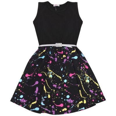 Girls Splash Print Panel Skater Dress