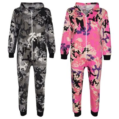 A2Z Trendz Kids Onesie Girls Boys Camouflage Print All In One Jumsuit Playsuit New Age 5-13 Years