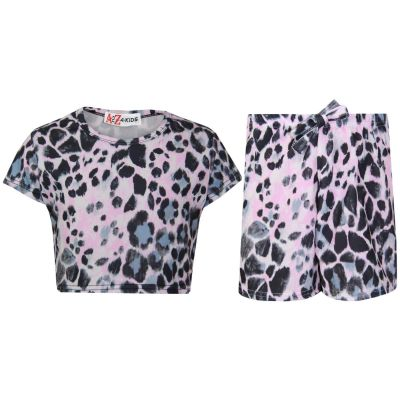 A2Z Trendz Kids Girls Crop Top & Shorts Leaopard Print Trendy Fashion Summer Outfit Short Sets New Age 7 8 9 10 11 12 13 Years