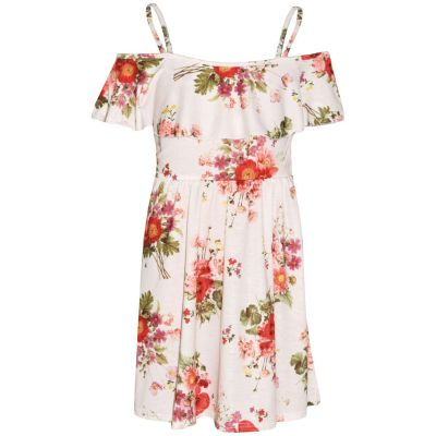 A2Z Trendz Girls Skater Dress Red Floral Print Summer Party Fashion Off Shoulder Dresses New Age 7 8 9 10 11 12 13 Years