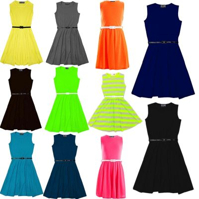Girls Skater Dress Kids Party Dresses With Free Belt New Age 7 8 9 10 11 12 13 Years