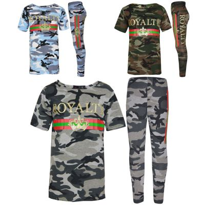 A2Z Trendz Girls Top Kids Royalty Camouflage Print Trendy T Shirt Tops & Fashion Legging Loungewear Set New Age 7 8 9 10 11 12 13 Years