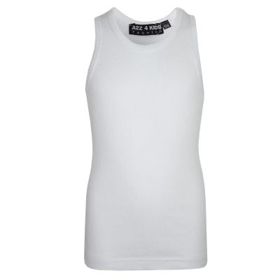 A2Z Trendz Kids Girls Ribbed Vest Top Designer's 100% Cotton White Fashion Tank Tops T Shirts New Age 5 6 7 8 9 10 11 12 13 Years