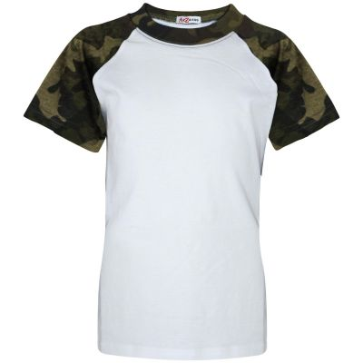 A2Z Trendz Kids Boys Girls Camo Green T Shirts Designer's 100% Cotton Plain Baseball Short Raglan Sleeves Team Sports Tee Soft Feel Casual T-Shirts New Age 2 3 4 5 6 7 8 9 10 11 12 13