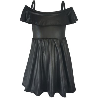 Girls Wet Look Off Shoulder Dress