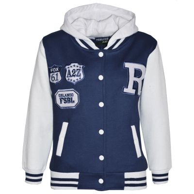 Kids Girls Boys Designer's R Fashion Baseball Navy Hooded Jackets Varsity Hoodie