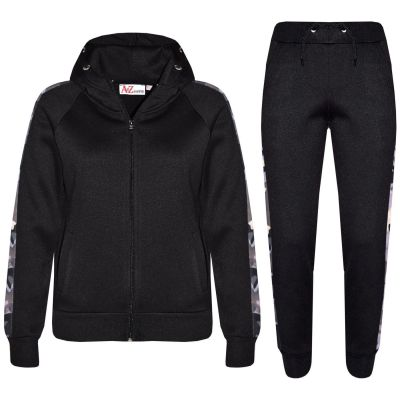 Kids Girls Boys Jogging Suit Black Fleece Tracksuit Hooded Hoodie Bottom Joggers