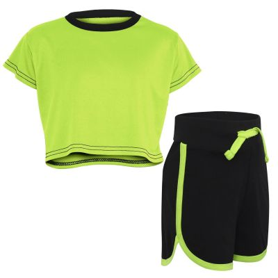 Kids Girls Crop Top & Hot Shorts Neon Green Fashion Gym Sports Summer Outfit Clothing Sets.